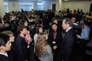 Former Lt. Gov. David Dewhurst chats with teens at the West Houston Teen Leadership Summit on Feb. 20. The event helped teens learn business fundamentals from some of the top leaders in Texas.